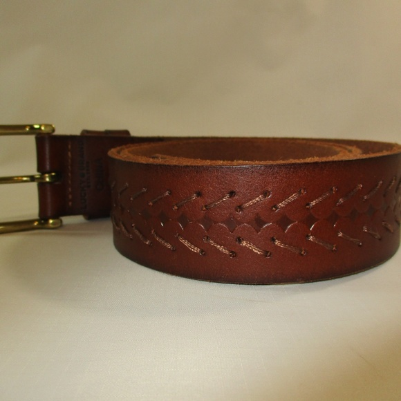 Fossil Other - Fossil Brown Braided Leather Brass Buckle Belt 32